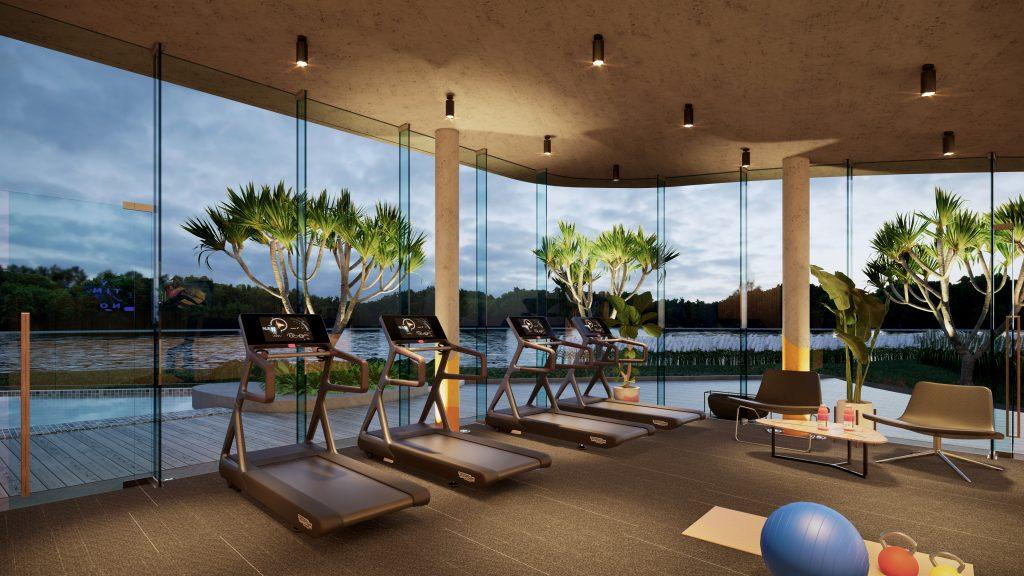 Một góc khu gym club tiêu chuẩn và view bờ sông