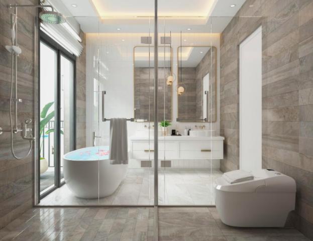 Thiết kế vách ngăn bằng kính để tạo cảm giác rộng rãi cho khu vực phòng tắm
